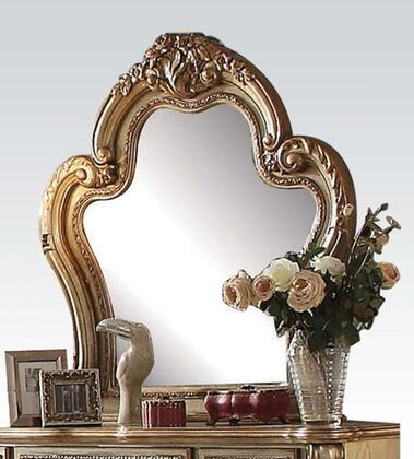 Dresden Collection 23164 46 inch  x 46 inch  Beveled Mirror with Carved Wood Elements  Solid Woods and Veneers in Gold Patina