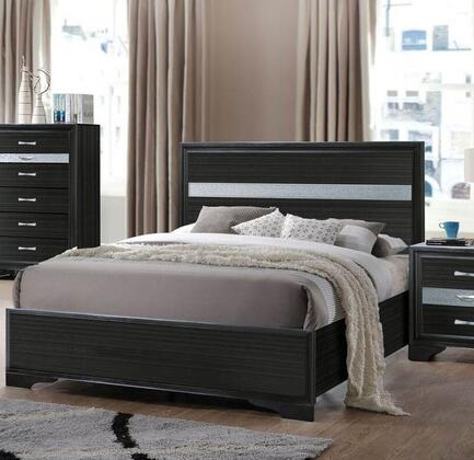Naima Collection 25910T Twin Size Bed with Light Grey Acrylic Trim  Low Profile Footboard  Engineered Wood Construction  Rubberwood and Chipboard Materials in