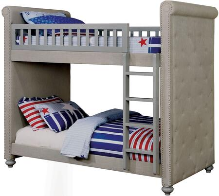 Sascha Collection Twin Size Bunk Bed with Attached Ladder  Button Tufted Sides  Padded Linen-like Fabric  Solid Wood and Wood Veneers Construction in Grey