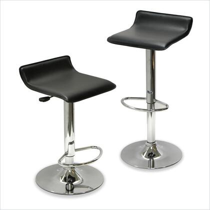 93329 Spectrum Set of 2  Adjustable Air Lift Stool  Black Faux Leather