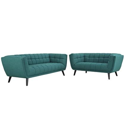 Bestow Collection EEI-2975-TEA-SET 2 PC Sofa and Loveseat Set with Dense Foam Padding  Non-Marking Foot Caps  Black Tapered Wood Legs and Polyester Upholstery