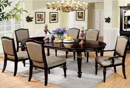 Harrington Collection CM3970T4SC2AC 7-Piece Dining Room Set with Rectangular Table  4 Side Chairs and 2 Arm Chairs in Dark Walnut