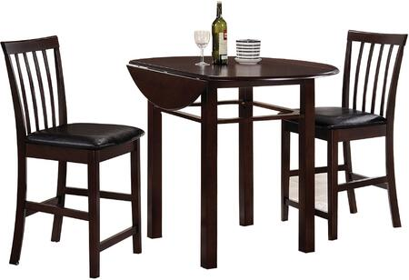 Artie Collection 72060 3 PC Counter Height Dining Set with Drop Leaves Table Extension  Black Bycast PU Leather Seat Cushion and Okumi Veneer Materials in