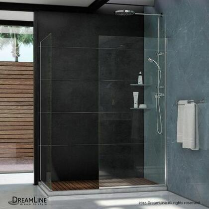 SHDR-3234302-01 Linea Frameless Shower Door. Two Glass Panels: 30 in. x 72 in. and 34 in. x 72 in. Chrome