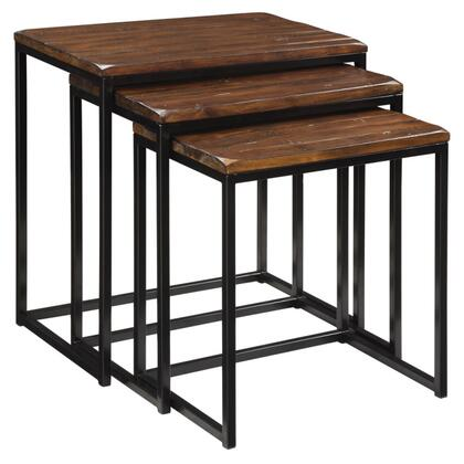 39677 Set of (3) Nesting Tables with Hand-Hewn Rustic Tabletops and Metal