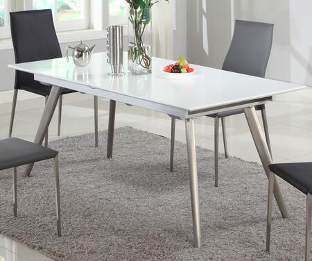 ELSA-DT ELSA DINING Matt White Self-Storing Extension Dining Table with Brushed Stainless Steel