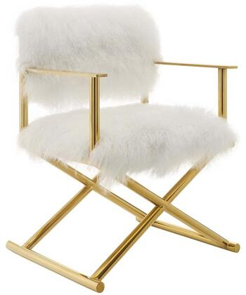 Modway EEI-3269-GLD-WHI Action Pure White Cashmere Accent Director's Chair Gold