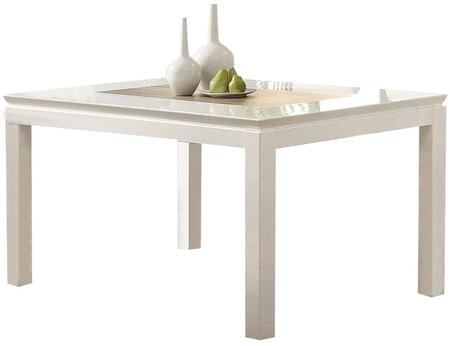 Kilee Collection 70990 60 inch  Dining Table with Contrast Wooden Insert  Square Legs  Rectangular Shape and Wood Construction in White