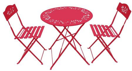 MSY100A-RD Metal Bistro Set with Table and Two Chairs in