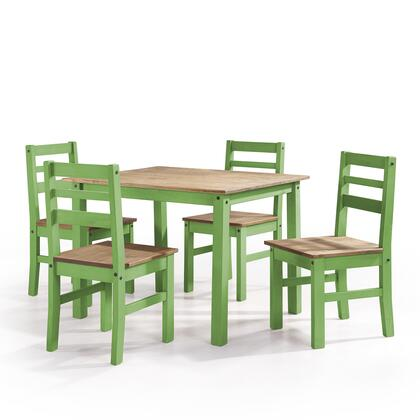 Cs18204 Maiden 5-piece Solid Wood Dining Set With 1 Table And 4 Chairs In Green