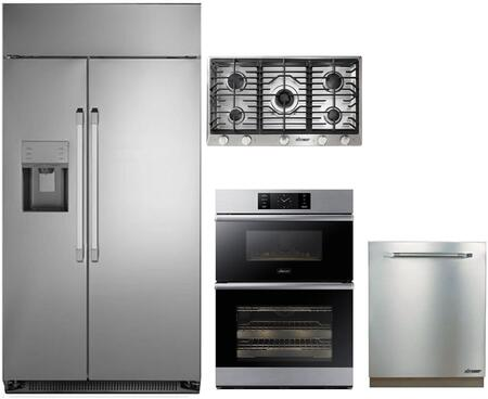 4-Piece Stainless Steel Kitchen Package with DYF42SBIWS 42 inch  Side by Side Refrigerator  RNCT365GSNG 36 inch  Natural Gas Cooktop  DOC30M977DS 30 inch  Combi Wall Oven