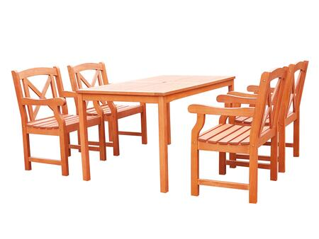 V98SET44 Malibu Eco-friendly 5-piece Outdoor Hardwood Dining Set with Rectangle Table and Arm