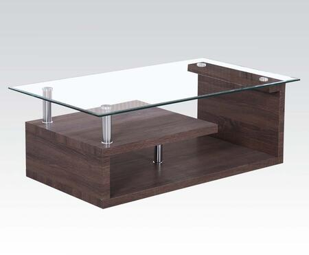 Alfie Collection 80405 43 inch  Coffee Table with 8mm Clear Tempered Glass Top  2 Shelves  Beveled Edges  Stainless Steel Tube and Paper Veneer Materials in Dark