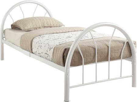 Silhouette Collection 30450TWH Twin Size Bed with Fanback Design  Slat System Included  Metal Frame  Side Rails and Slats Included in White