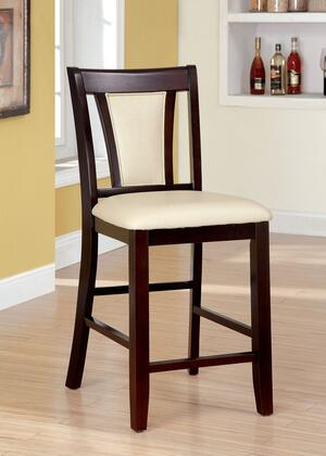 Brent II Collection CM3984PC-2PK Set of 2 Counter Height Chair with Padded Leatherette Upholstery and Tapered Front Legs in Dark Cherry and
