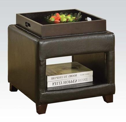 Gosse 96180 19 inch  Ottoman with 1 Tray  Bottom Shelf  Tapered Legs and PU Leather Upholstery in Dark