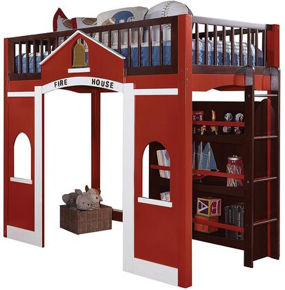 Fola Collection 37085 Twin Size Loft Bed with Fire House Theme  Side Ladder  Bookcase  Full Length Guard-Rails  Pine Wood and Veneer Materials in Red  White