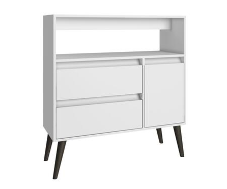 Gota Collection 5AMC129 35 inch  2-Drawer High Side Table with 1 Door  1 Spacious Shelf and Splayed Legs in
