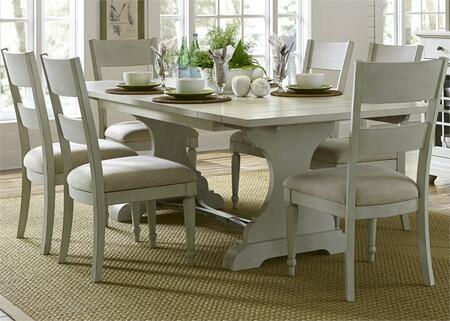 Harbor View III Collection 731-DR-7TRS 7-Piece Dining Room Set with Trestle Table and 6 Slat Back Side Chairs in Dove Gray