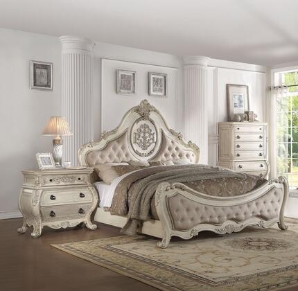 Ragenardus Collection 27004CK3SET 3 PC Bedroom Set with California King Size Bed  Chest and Nightstand in Antique White