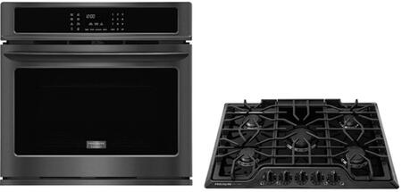 2-Piece Kitchen Package with FGEW3065PD 30 inch  Electric Single Wall Oven in Black Stainless Steel and FGGC3047QB 30 inch  Natural Gas Cooktop in
