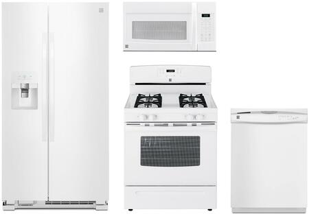 4-Piece White Kitchen Package with 51112 Side-by-Side Refrigerator  74032 Freestanding Gas Range  80322 Over-the-Range Microwave and 17382 Full