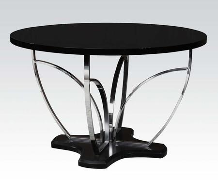 Danny Collection 71250 48 inch  Dining Table with Pedestal Base  Steel Metal Tube  Round Top and Pine Wood Construction in High Gloss Black and Chrome