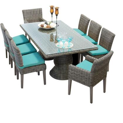 Capecod-rectangle-kit-6adc2dcc-aruba Cape Cod Vintage Stone Rectangular Outdoor Patio Dining Table With 6 Armless Chairs And 2 Chairs W/ Arms With 2 Covers: