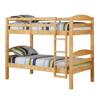 BWSTOTNL Solid Wood Twin over Twin Bunk Bed with Full Length Guardrails and Integrated Ladder in