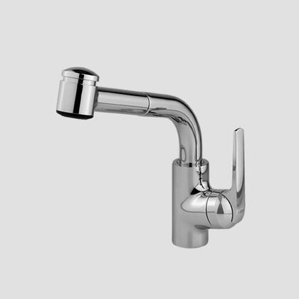 10.061.002.127 Single-hole  single side-lever kitchen mixer with high swivel spout and pull-out spray in Splendure Stainless