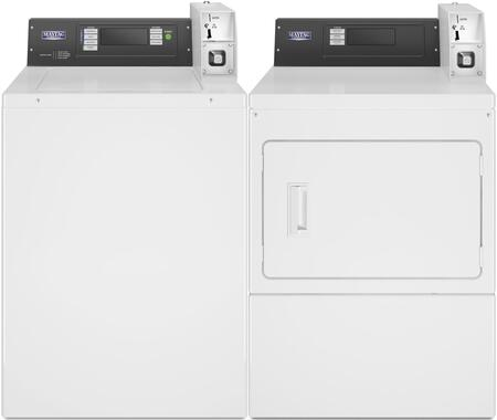 Commercial Laundry Pair with MAT20PDAWW 2.9 cu. ft. Top Load Washer and MDE20PDAYW 7.4 cu. ft. Electric