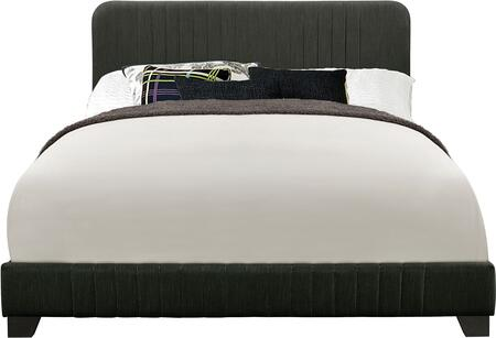 DS-D121-290-500 Mid-Century All-in-One Queen Bed with Channeled Headboard  Footboard and Rails in Dupree