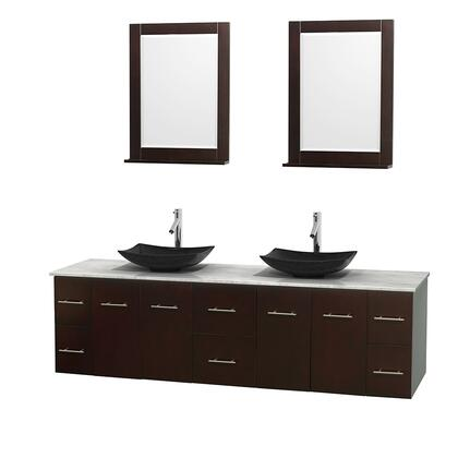 Wcvw00980descmgs4m24 80 In. Double Bathroom Vanity In Espresso  White Carrera Marble Countertop  Arista Black Granite Sinks  And 24 In.