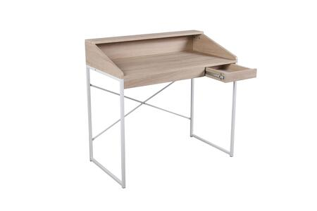 Pax Collection 92150 35 inch  Desk with 1 Drawer  Metal Frame and PVC Veneer Materials in Birch and White