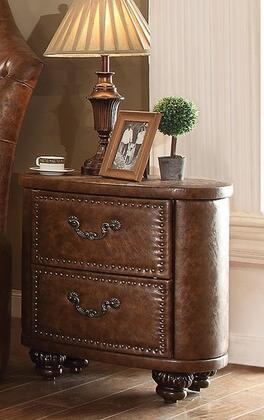 Varada Crescent Collection 25163 27 inch  Nightstand with 2 Drawers  Oval Shape  PU Leather Upholstery  Pumpkin Bun Feet and Solid Wood Construction in Antique