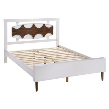 800300 Seattle Collection Queen Size Bed with Tapered Legs  Wood Veneer  Shape-Designed Headboard and Slats Included  in Walnut &
