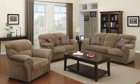 Patricia 51950SLC 3 PC Living Room Set with Sofa + Loveseat + Chair in Light Brown
