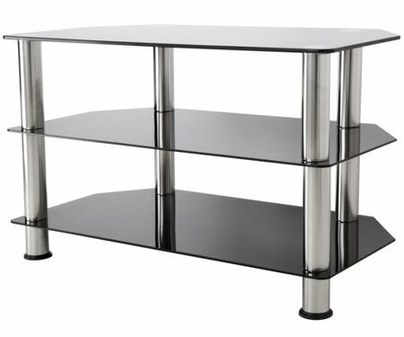 SDC800-A 31.5 inch  TV Stand with Angled Corners  Stainless Steel Legs  Tempered Glass Top and Shelves in Chrome and Black