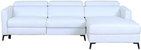 LN-305-W 106 inch  2-Piece Sectional Sofa with Electrical Recliner and High Quality Eco-leather Seating in Snow