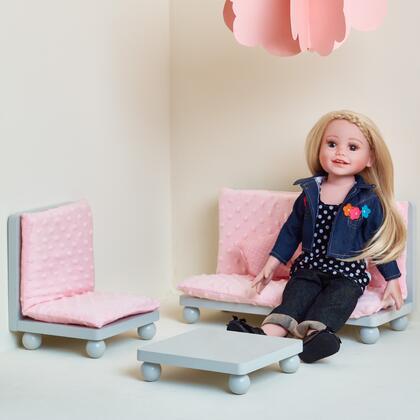 TD11930ABG 18 inch Doll Furniture - Soft Pink Lounge Set