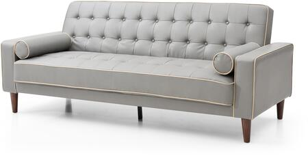 Navi Collection G832A-S 82 inch  Sleeper Sofa with 2 Bolster Pillows  Tapered Wood Legs  Track Arms  Button Tufted Cushions  Heavy Duty Springs and Faux Leather