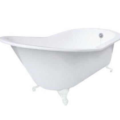 ECGDSLTAPWH Grand Slipper Cast Iron Clawfoot Tub with Tub Rim Holes in