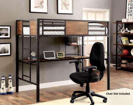 Clapton Collection CM-BK029TD Twin Size Bed with Workstation  Attached Ladder  Nailhead Accents  Wood Panels and Full Metal Construction in Black