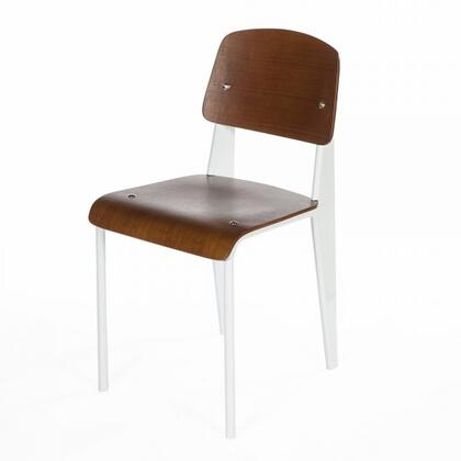 Standard DC595WALWHT Chair with Plywood Seat and Back  Waterfall Edge Seat and Powder Coated Steel in Walnut and
