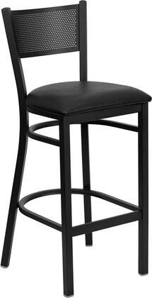 XU-DG-60116-GRD-BAR-BLKV-GG HERCULES Series Black Grid Back Metal Restaurant Bar Stool - Black Vinyl