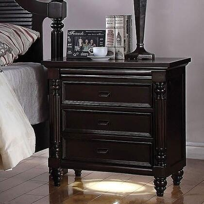 Charisma Collection 21584 28 inch  Nightstand with 3 Drawers  LED Lighting  Charging Dock  Turned Legs and Wood Construction in Dark Espresso