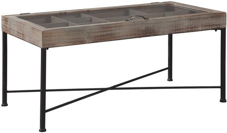 """Shellmond_Collection_A4000208_43.25""""_Accent_Cocktail_Table_with_Rectangular_Shape__Multi-Compartment_Storage__Metal_Hardware__Black_Metal_Base"""