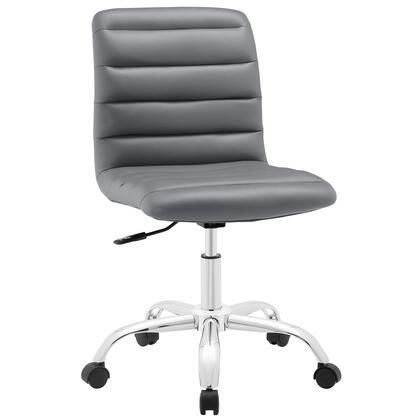 Ripple Collection EEI-1532-GRY Armless Office Chair with Swivel Seat  Adjustable Height  Polished Chrome Hooded Base  Five Dual-Wheel Nylon Casters  Mid High