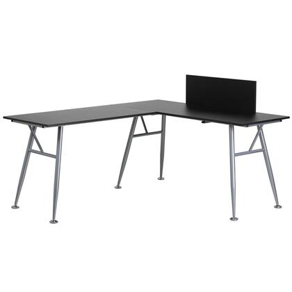 NAN-WK-110-BK-GG L-Shape Computer Desk with  Spacious Desktop  Self-Leveling Floor Glides and Silver Frame Finish in Black