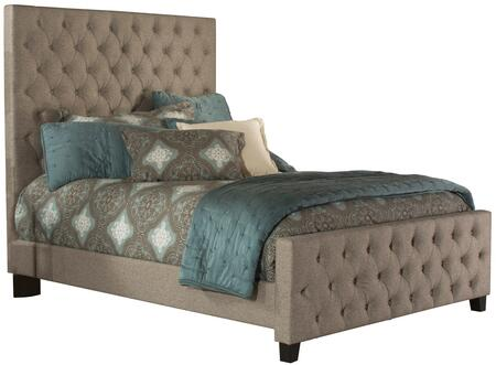 Savannah Collection 2163BKR King Size Bed with Headboard  Footboard  Rails  Fabric Upholstery  Button Tufted Panels  Low Profile Footboard and Tall Headboard